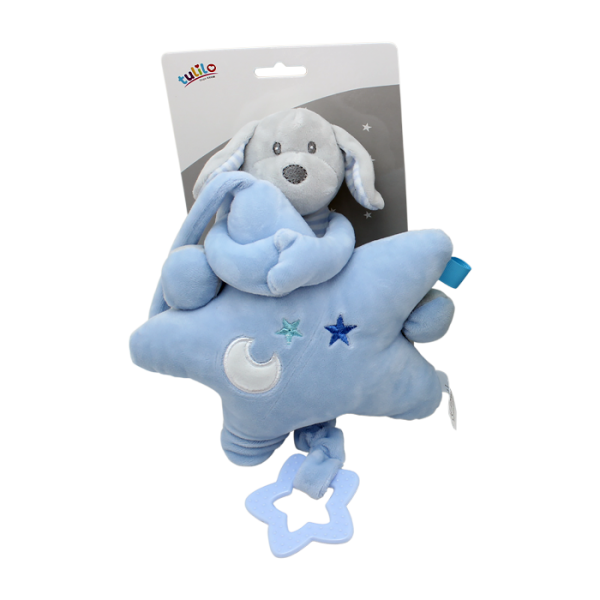 Závěsná plyšová hračka Tulilo s melodií Pejsek s hvězdou, 22 cm - modrý