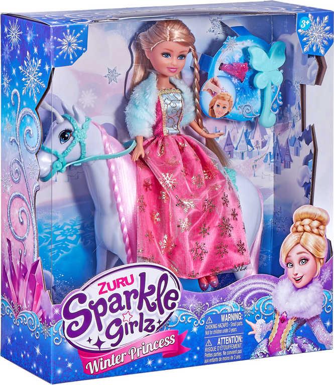 Sparkle Girlz panenka zimní princezna set s koníkem a doplňky v krabici