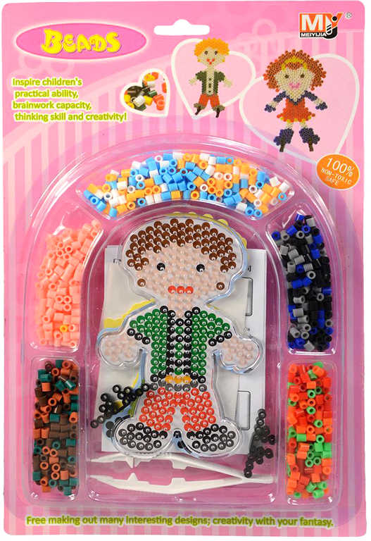 Korálky barevné zažehlovací mozaika děti set 900ks s nástrojem a doplňky 2 druhy