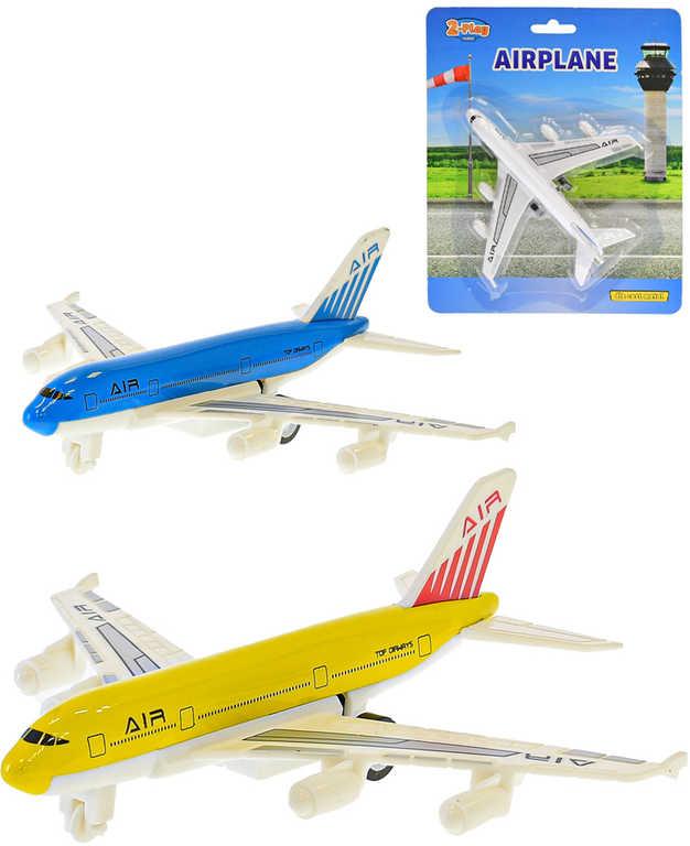 Letadlo dopravní kovové 14cm zpětný chod 3 barvy na kartě