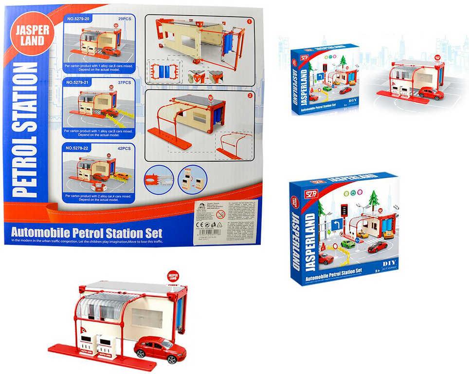 Benzínová stanice set 29 dílků + autíčko stavebnice plast