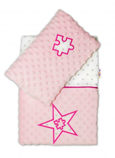 Sada do kočárku Mini Stars s Minky - růžová