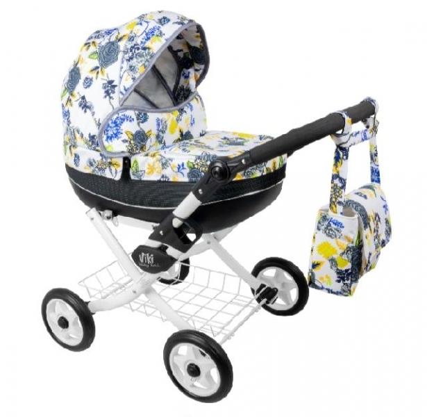 NESTOR Dětský kočárek pro panenky Viki Rose, bílá konstrukce - modrá, žlutá