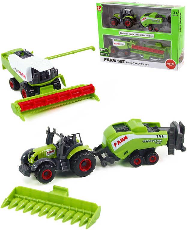 Farmářský set vozidlo zemědělské 2ks s přívěsem 2ks v krabičce 4 druhy kov