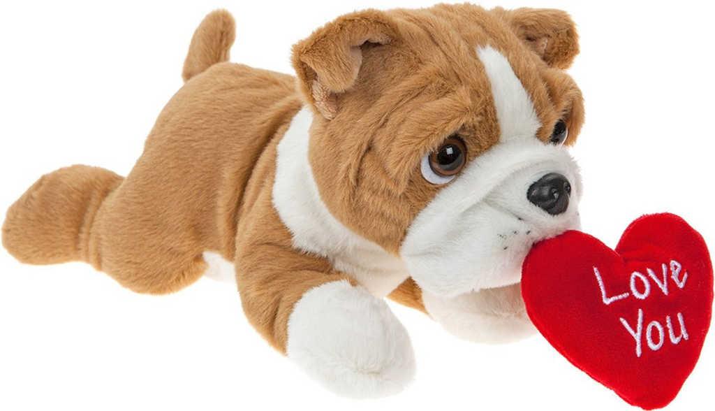 PLYŠ Pes bulldog ležící 30cm se srdíčkem I Love You *PLYŠOVÉ HRAČKY*