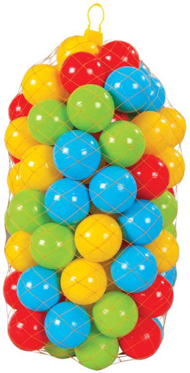 Baby lehké míčky barevné plastové 6cm set 100ks do hracího koutku do bazénku
