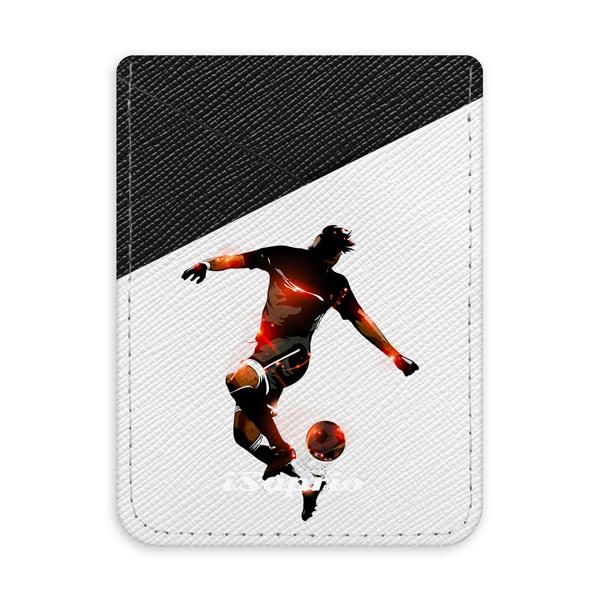Pouzdro na kreditní karty iSaprio - Fotball 01 - black - tmavá nalepovací kapsa