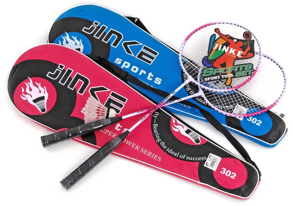 Sada na badminton 2 pálky + míček 2 barvy ve vaku na zip přes rameno