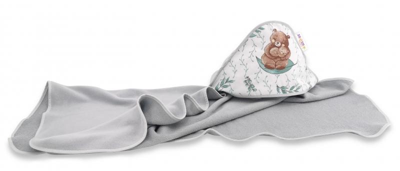 Dětská osuška s kapucí Baby Nellys, LULU natural, 100 x 100 cm, šedá