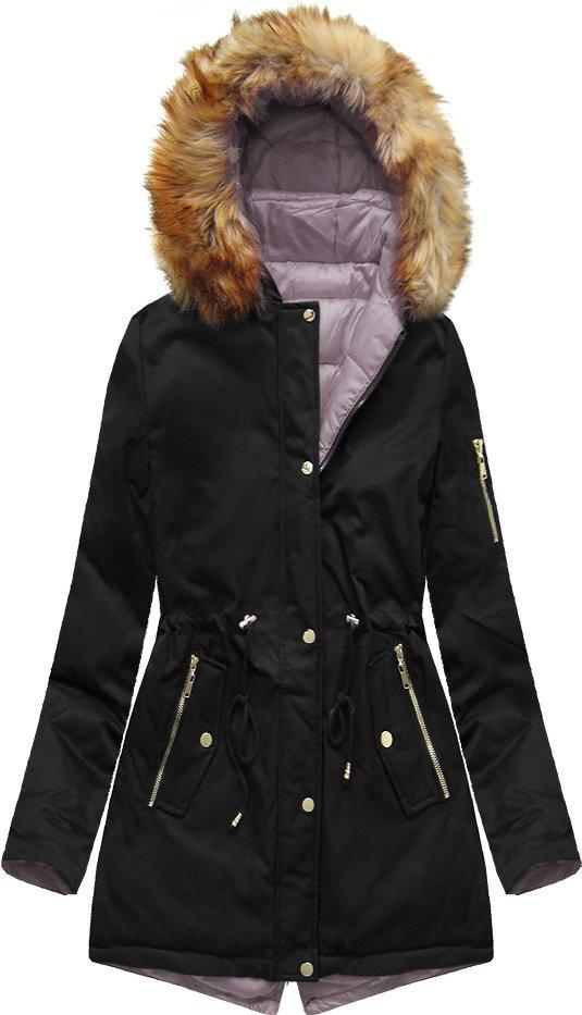 Černo-růžová oboustranná bunda parka s kapucí (B2636)
