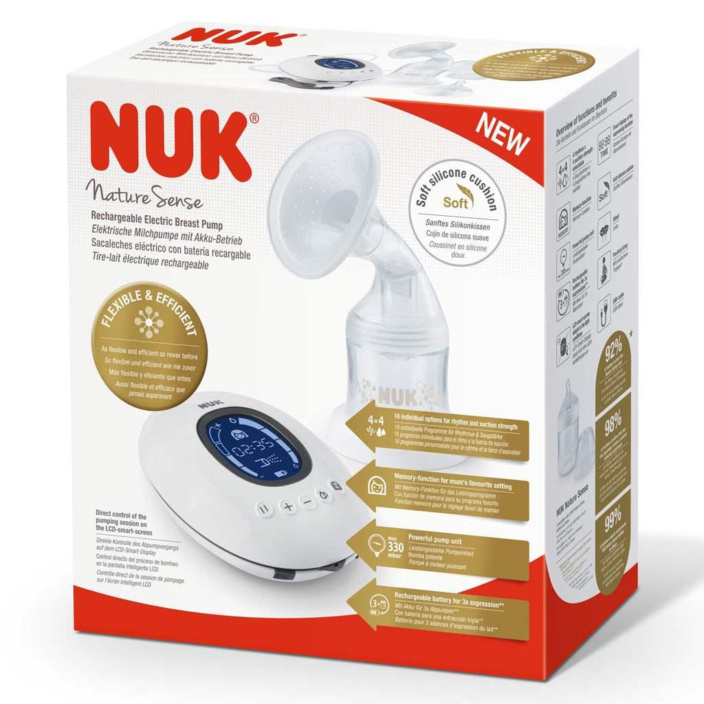 Elektronická odsávačka NUK Nature Sense+nádobka Sense 150 ml+dárek - bílá