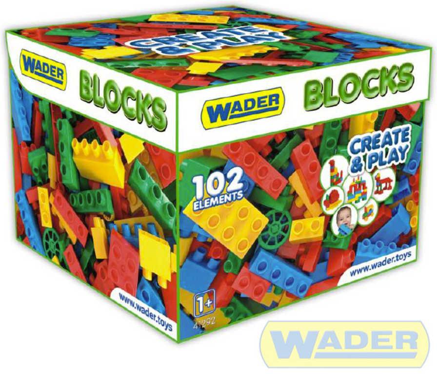 WADER Baby kostky plastové set 102ks stavebnice pro kluky v papírové krabici