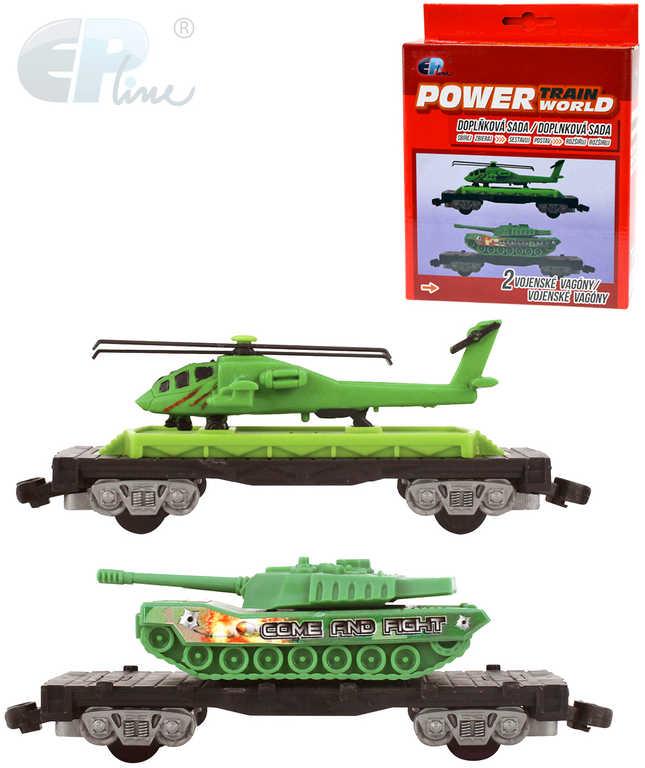 EP Line PTW Vojenský vagon set 2ks s tankem a vrtulníkem doplněk k vláčkodráze