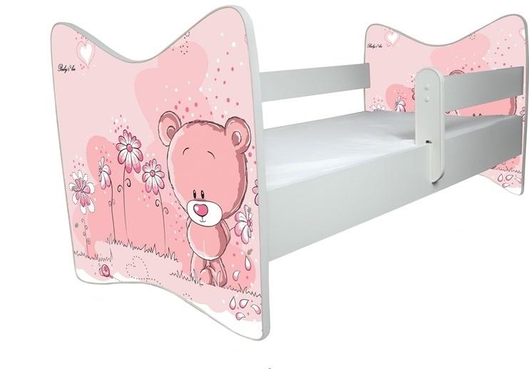 BabyBoo Dětská postýlka LUX Medvídek STYDLÍN růžový 140x70 cm. D19 - 140x70