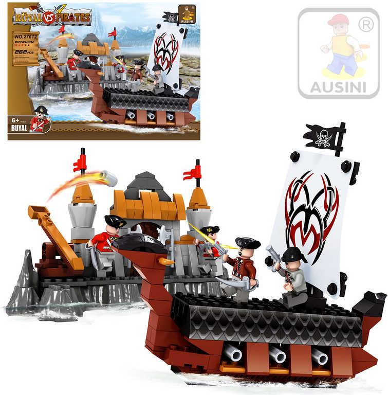 AUSINI Stavebnice PIRÁTI Králové proti pirátům 262 dílků + 4 figurky s doplňky plast