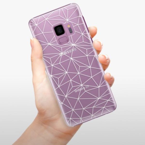Plastové pouzdro iSaprio - Abstract Triangles 03 - white - Samsung Galaxy S9