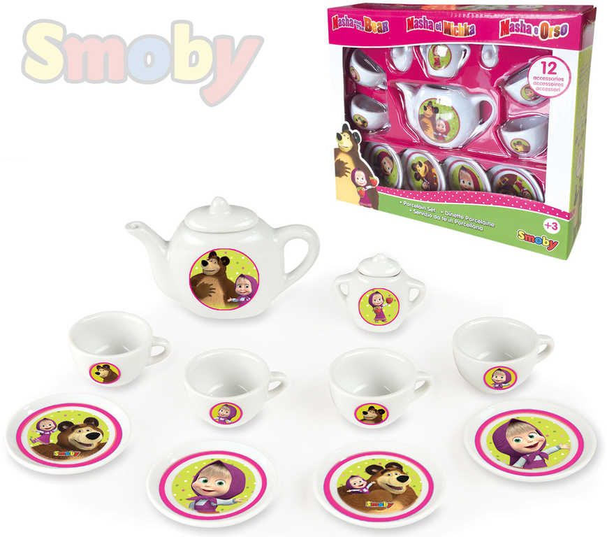 SMOBY Dětský kávový a čajový servis Máša a medvěd set s cukřenkou