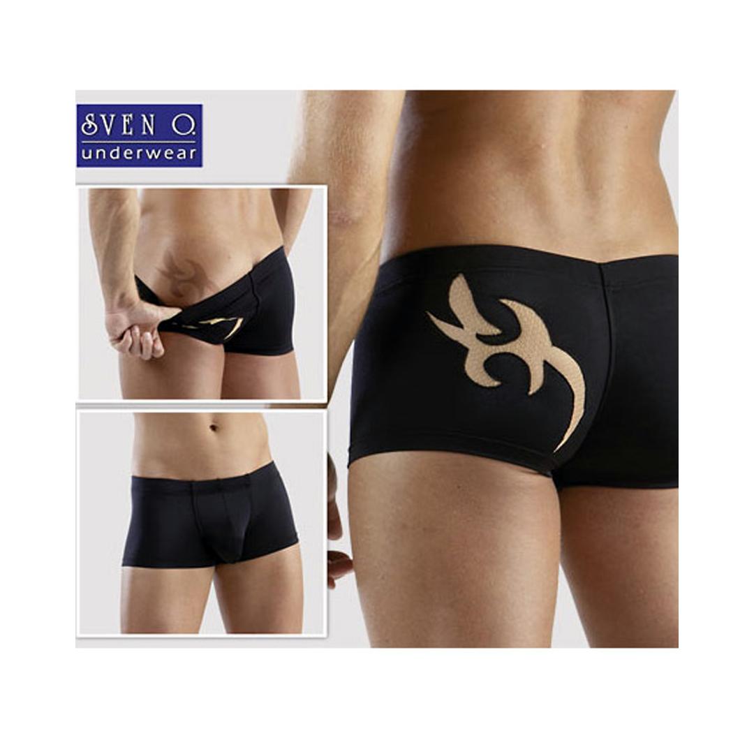 Pánské černé boxerky s ornamentem (S, XL, XXL)