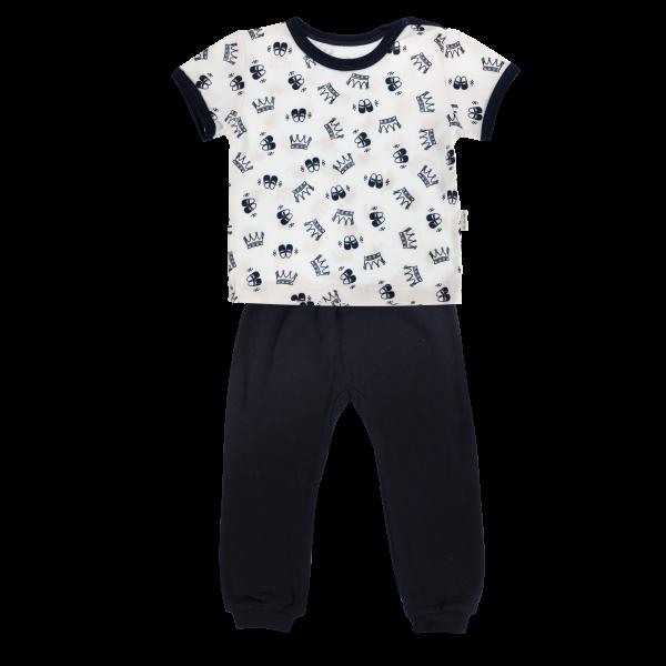 Bavlněné pyžamko Mamatti Princezna - krátký rukáv - granátové, vel.