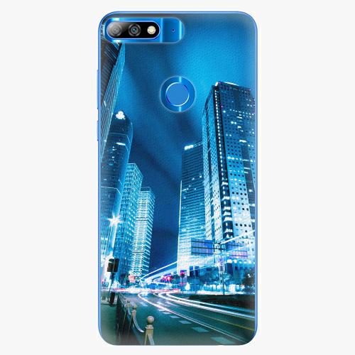 Silikonové pouzdro iSaprio - Night City Blue - Huawei Y7 Prime 2018