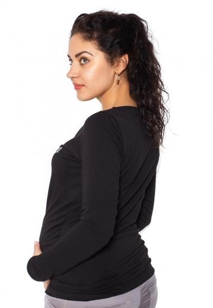 Be MaaMaa Těhotenské triko dlouhý rukáv In Love - černé