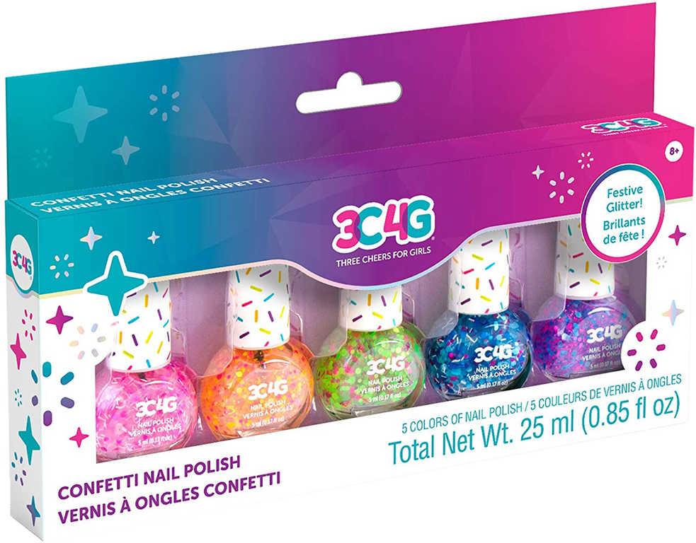 MAKE IT REAL Dětské laky na nehty s konfetami set 5ks v krabici