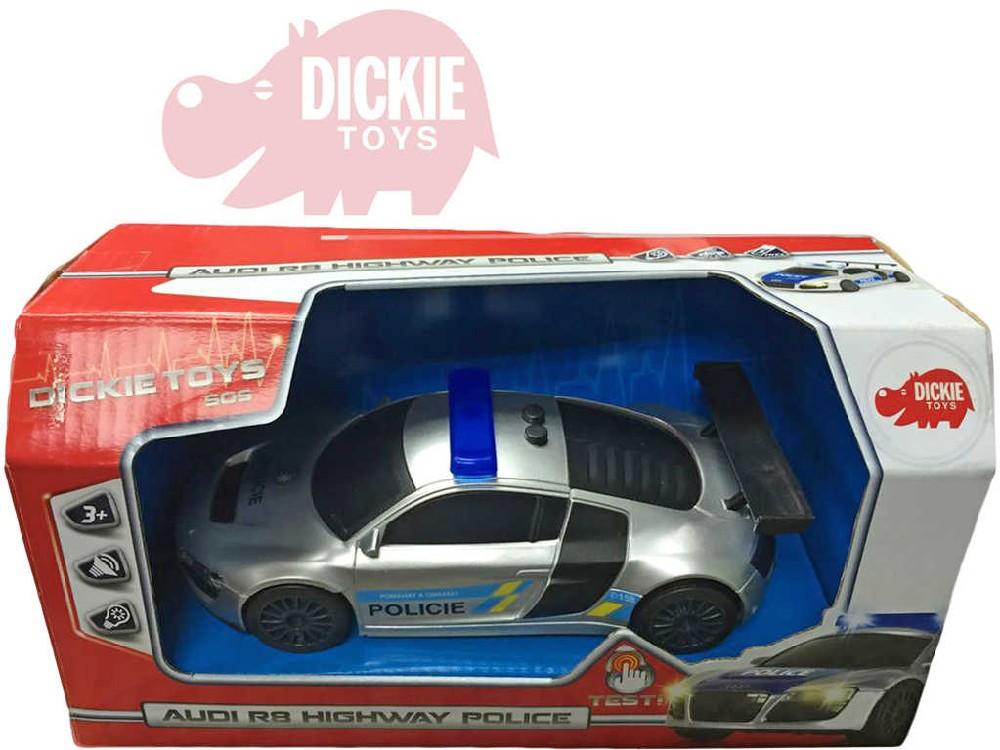 DICKIE Auto Audi R8 Policie dálniční na zpětný nátah na baterie Světlo Zvuk