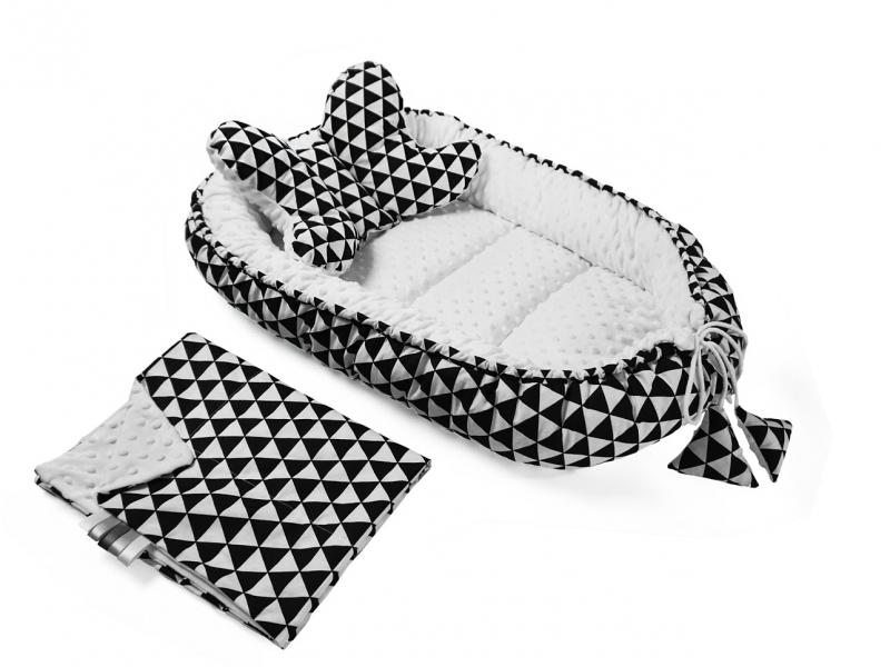 Sada komplet - oboustranné hnízdečko, kokon minky 60x90cm - geometrie - trojúhelníčky