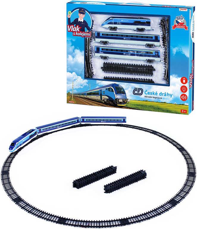 Vlak České dráhy set lokomotiva + 2 vagóny s kolejemi na baterie Světlo Zvuk