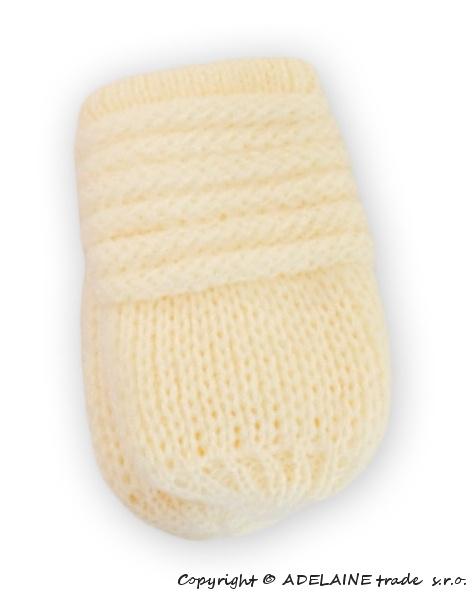 Zimní pletené kojenecké rukavičky - smetana - 0-1rok