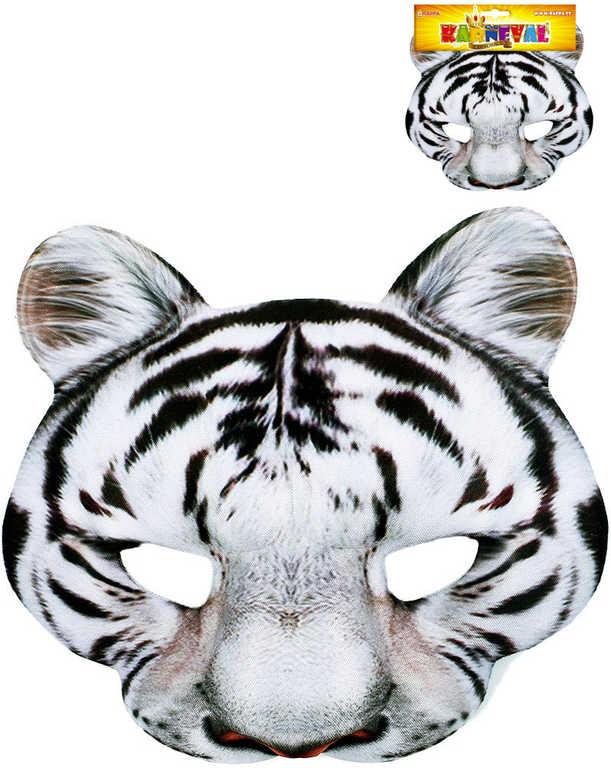 KARNEVAL Maska tygr bílý KARNEVALOVÝ DOPLNĚK