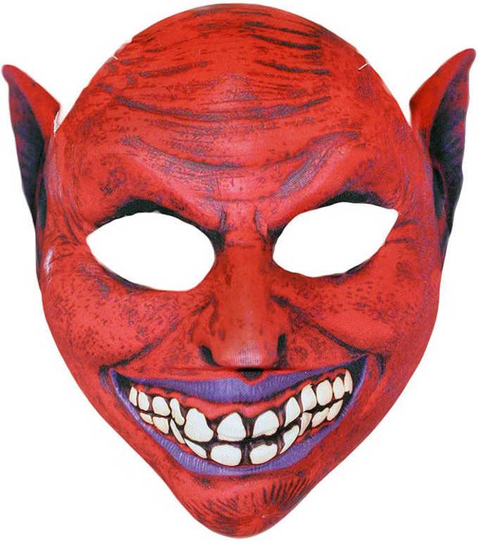KARNEVAL Maska čerta červená textilní pro dospělé KARNEVALOVÝ DOPLNĚK