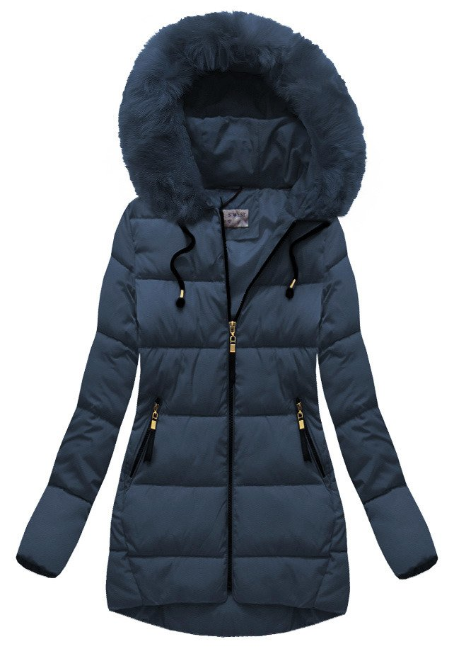 Tmavě modrá dámská bunda s kapucí (B1027-30) - Tmavěmodrá/50