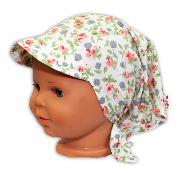 Baby Nellys Dětský šátek s kšiltem na zavazování Květinky - bílé - uni