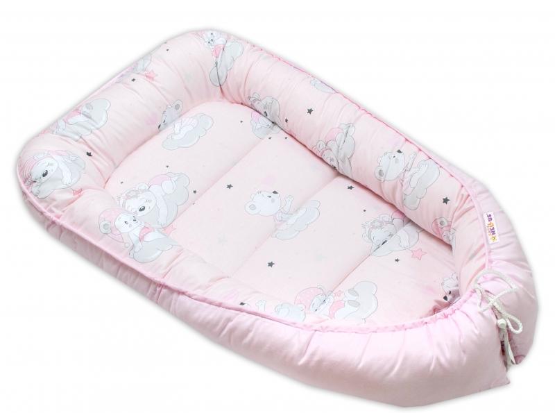Baby Nellys Bavlněné oboustranné hnízdečko , 55x75cm, Mráček - růžová