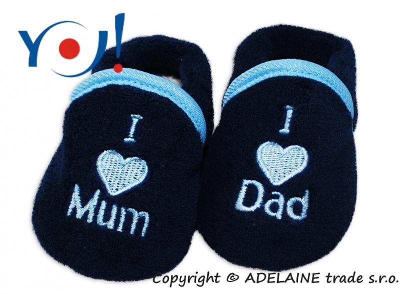 Botičky/ponožtičky YO ! I LOVE - tmavě modré, vel. 6-12m, s lemem - 74 (6-9m)/80 (9-12m)/8
