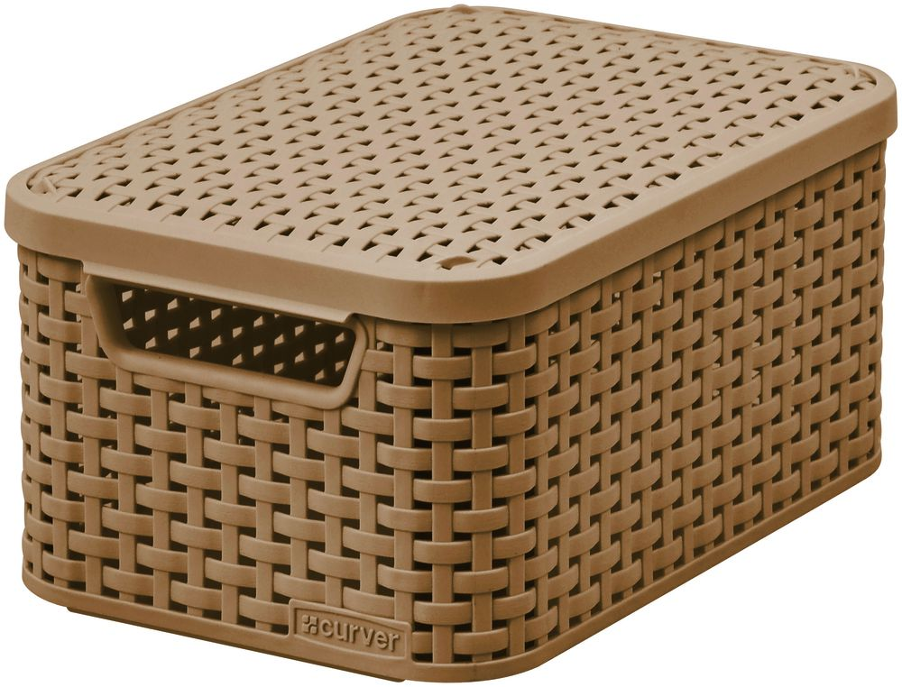 Košík box s víkem - S - mocha CURVER