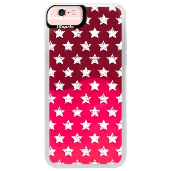 Neonové pouzdro Pink iSaprio - Stars Pattern - white - iPhone 6/6S