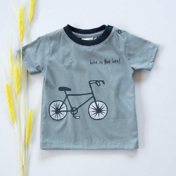 K-Baby Klučičí bavlněné triko, krátký rukáv - modro/šedé, Bike is the best, vel. 74 - 74 (6-9m)