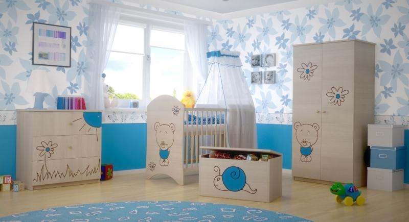 BabyBoo Dětská postýlka LUX s výřezem Medvídek květinka modrá 120x60cm