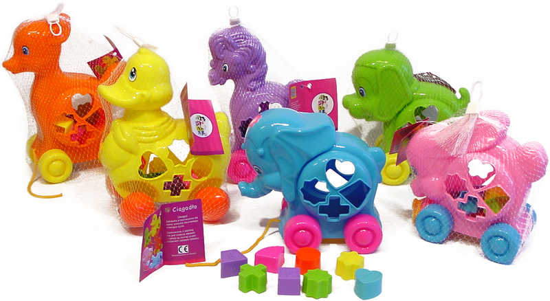 Zvířátko plastové na kolečkách na vkládání tvarů - 6 druhů