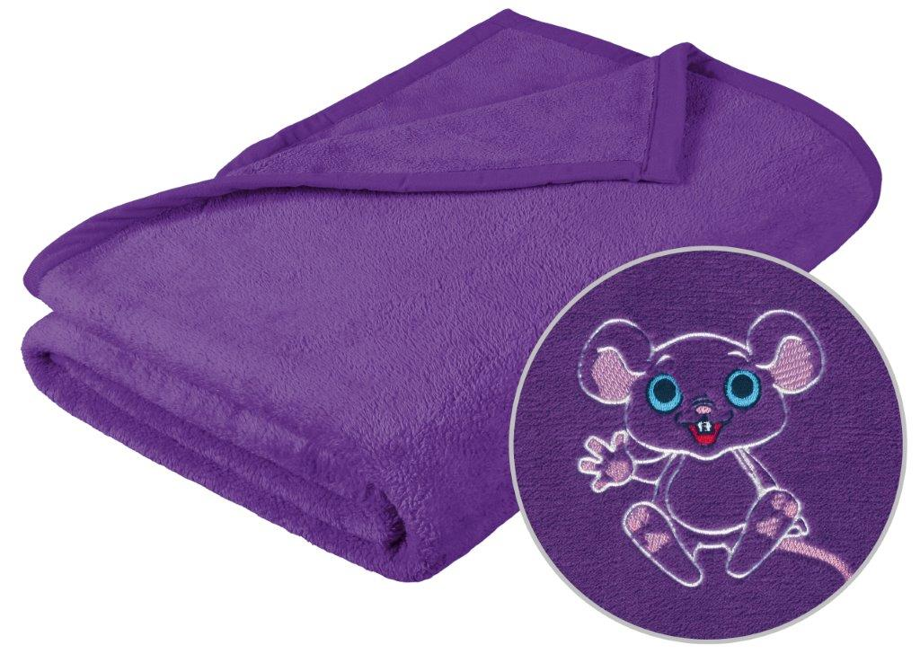 Dětská micro deka 75x100cm fialová s výšivkou