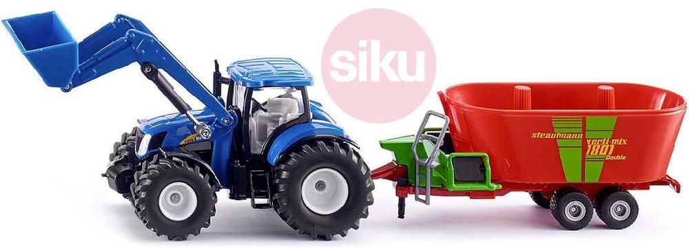 SIKU Traktor modrý New Holland set čelní nakladač s vlekem 1:50 model kov 1988