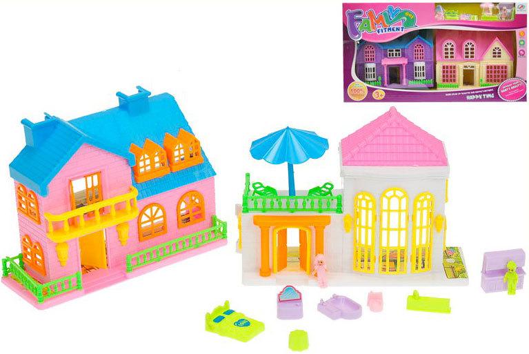 Herní set domeček 2ks s firurkami a doplňky různé druhy plast