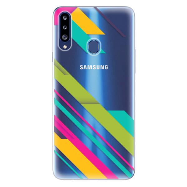 Odolné silikonové pouzdro iSaprio - Color Stripes 03 - Samsung Galaxy A20s