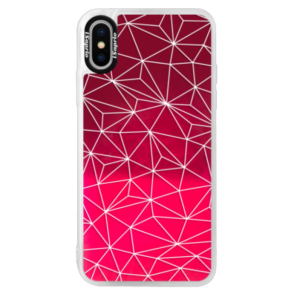 Neonové pouzdro Pink iSaprio - Abstract Triangles 03 - white - iPhone XS