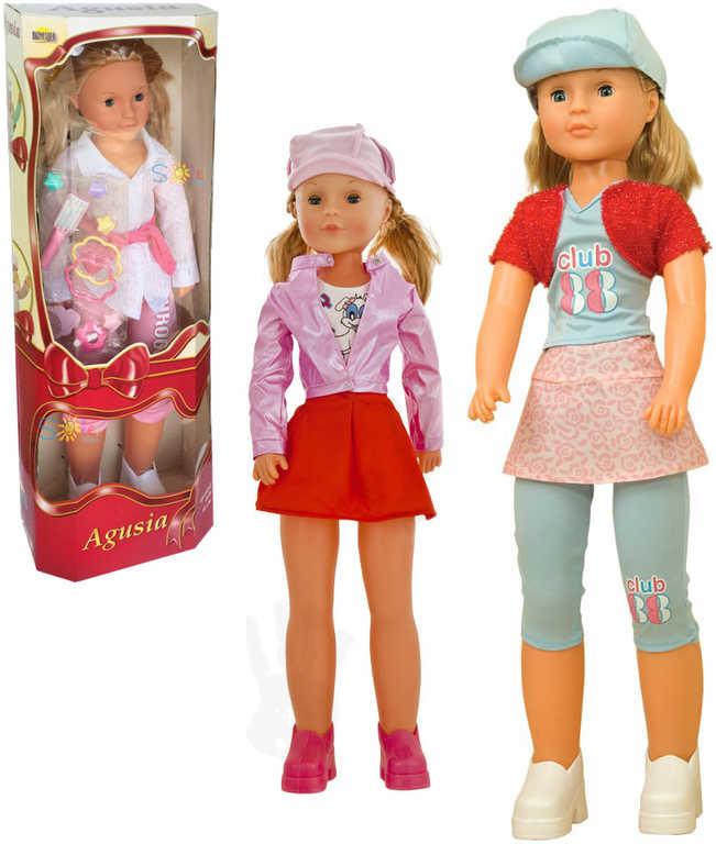 Stylová trendy panenka Agusia 80cm chodící v modním oblečku 3 druhy v boxu