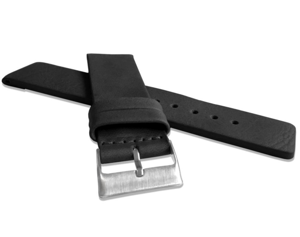 Černý hladký řemínek LAVVU PLAIN z luxusní kůže Top Grain - 24