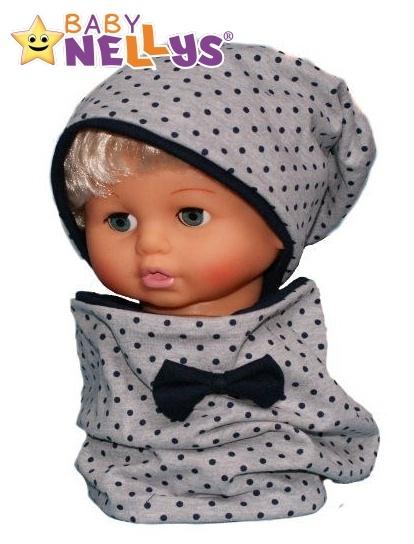 Bavlněná sada čepička a nákrčník s granátovými puntíčky Baby Nellys ® - šedá - 50/52 čepič