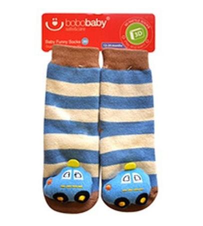 BOBO BABY Dětské protiskluzové ponožky 3D s chrastítkem - Autíčko, modrá - 12/24měsíců